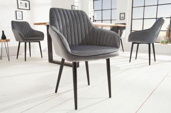 Krzesło tapicerowane Turin szare z ozdobnymi przeszyciami