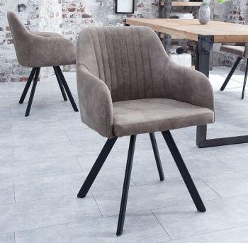Krzesło tapicerowane z przeszyciami Lucca taupe szary