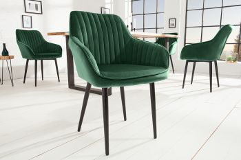 Krzesło tapicerowane Turin zielone z ozdobnymi przeszyciami