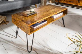 Stolik kawowy z półką Scorpion 100x50 cm drewno mango