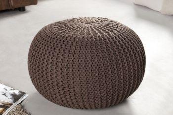 Pufa dziergana Leeds 50 cm ciemna czekolada