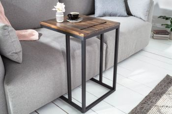 Stolik kawowy boczny, drewniany z uchwytem na tablet Elements